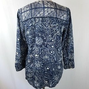 Lucky Brand Tops - Lucky Brand Blue Mixed Print Peasant Blouse Rayon